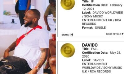 The song IF by Davido is now certified Gold in USA for hitting 500,000 sales